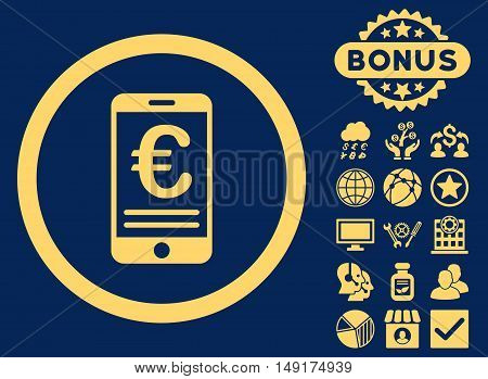 Euro Mobile Bank Account icon with bonus pictures. Vector illustration style is flat iconic symbols yellow color blue background.