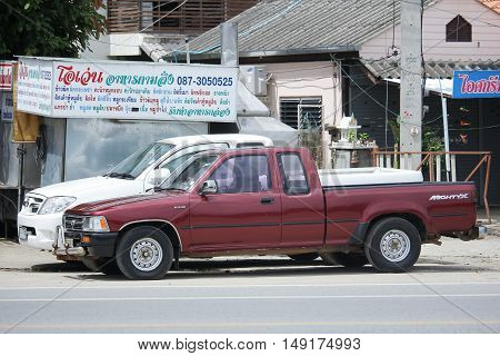 CHIANGMAI THAILAND -AUGUST 18 2016: Private Pickup car Toyota Hilux Tiger. Photo at road no 121 about 8 km from downtown Chiangmai thailand.