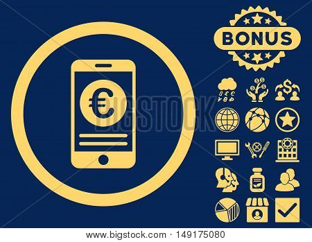 Euro Mobile Banking icon with bonus images. Vector illustration style is flat iconic symbols yellow color blue background.