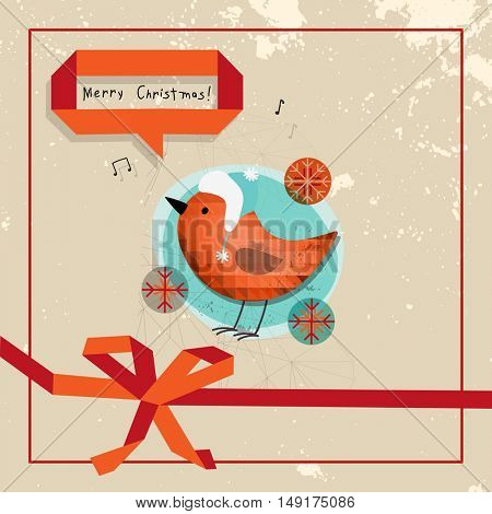 Christmas Robin bird, Merry Christmas greeting card. Sketchy doodle style hand drawn seasonal vector illustration.