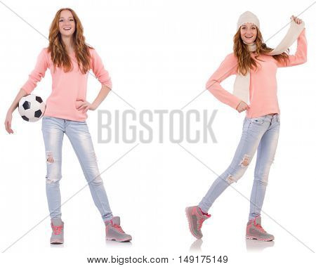 Young woman with football isolated on white