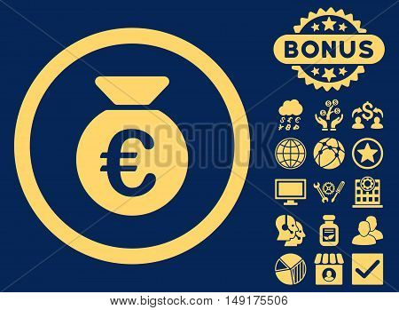 Euro Money Bag icon with bonus pictogram. Vector illustration style is flat iconic symbols yellow color blue background.
