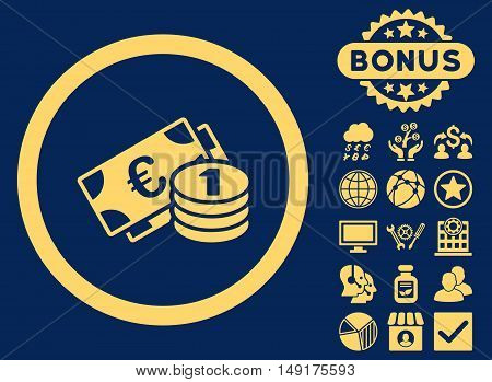 Euro Money icon with bonus images. Vector illustration style is flat iconic symbols yellow color blue background.