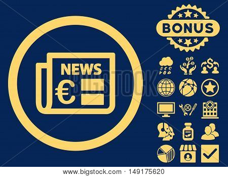 Euro Newspaper icon with bonus elements. Vector illustration style is flat iconic symbols yellow color blue background.