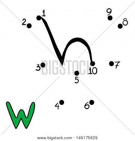 Numbers game for children, education dot to dot game, Letter W