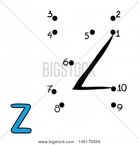 Numbers game for children, education dot to dot game, Letter Z