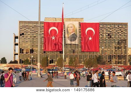 View Of Famous Taksim Square In Istambul. Turkey