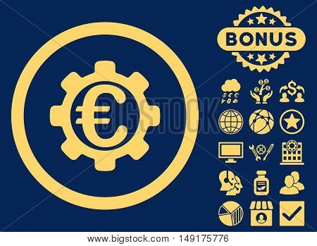 Euro Payment Options icon with bonus images. Vector illustration style is flat iconic symbols yellow color blue background.