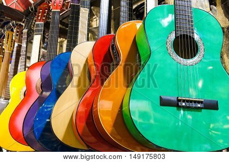 Colorful Guitars On The Istanbul Grand Bazaar.