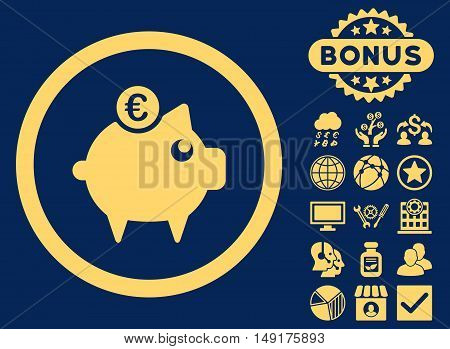 Euro Piggy Bank icon with bonus pictogram. Vector illustration style is flat iconic symbols yellow color blue background.