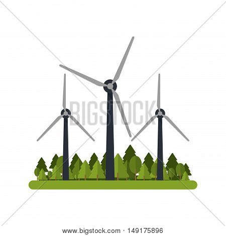 Windmill with grass icon. Ecology renewable energy and conservation theme. Isolated design. Vector illustration