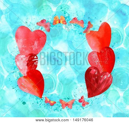 A circular border for text or logo, formed by hand painted pink and golden yellow butterflies and hearts, with splashes of watercolor on a teal blue background