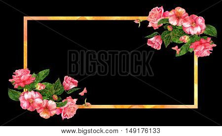 A vintage style frame with watercolor bouquets of roses and camellias with green leaves, pink butterflies, and a golden frame, on a black background with copyspace. Business or greeting card design