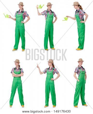 Collage of woman watering plants isolated on white