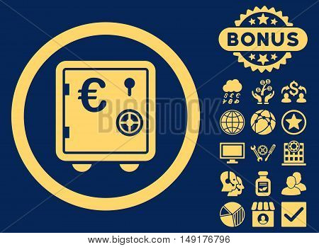 Euro Safe icon with bonus elements. Vector illustration style is flat iconic symbols yellow color blue background.