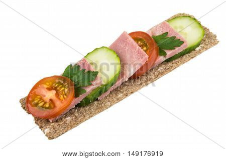 Crisp Bread With Bacon, Cucumbers And Tomatoes On White