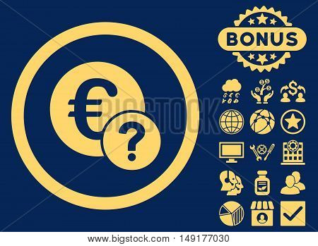 Euro Status icon with bonus design elements. Vector illustration style is flat iconic symbols yellow color blue background.