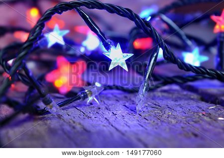 colorful lights star shaped of a electic garland
