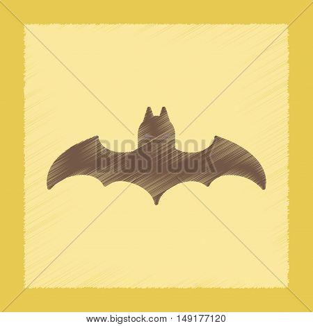 flat shading style icon of halloween bat