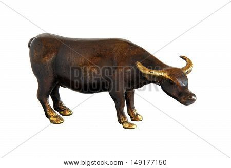 Bull bronze statue isolated on a white background