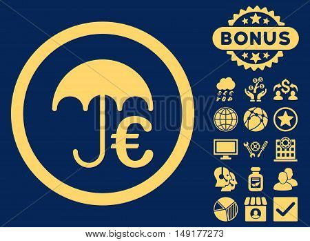 Euro Umbrella icon with bonus design elements. Vector illustration style is flat iconic symbols yellow color blue background.