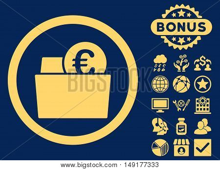Euro Wallet icon with bonus symbols. Vector illustration style is flat iconic symbols yellow color blue background.