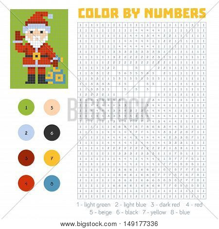 Color by number, education game for children, Santa Claus