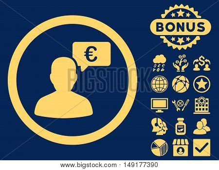 European Person Opinion icon with bonus pictogram. Vector illustration style is flat iconic symbols yellow color blue background.