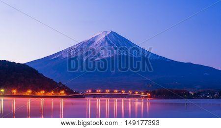 Beautiful mt Fuji in twilight at Kawaguchiko.
