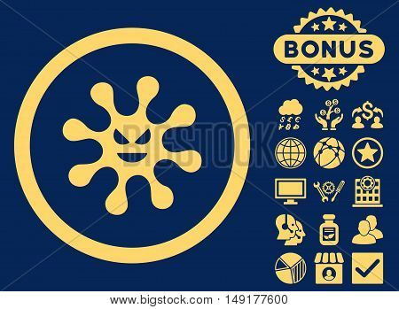Evil Bacteria icon with bonus elements. Vector illustration style is flat iconic symbols yellow color blue background.