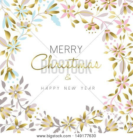 Merry Christmas And New Year Gold Floral Design