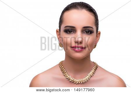 Woman with jewellery accessories isolated on white