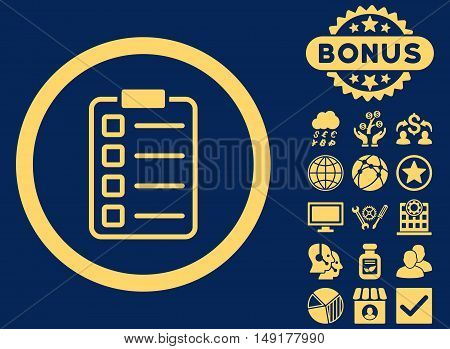 Examination icon with bonus pictures. Vector illustration style is flat iconic symbols yellow color blue background.
