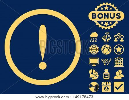Exclamation Sign icon with bonus pictures. Vector illustration style is flat iconic symbols yellow color blue background.