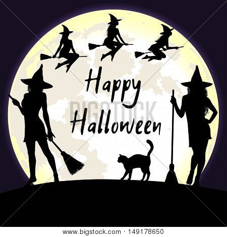 Halloween background with bright fool moon and witches flying and standing with broomstick. Happy Halloween greeting card.