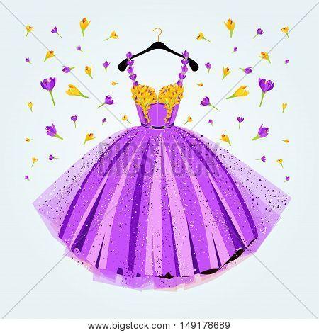 Flower decoreted purple party dress. Fashion vector illustration