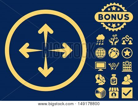 Expand Arrows icon with bonus pictures. Vector illustration style is flat iconic symbols yellow color blue background.