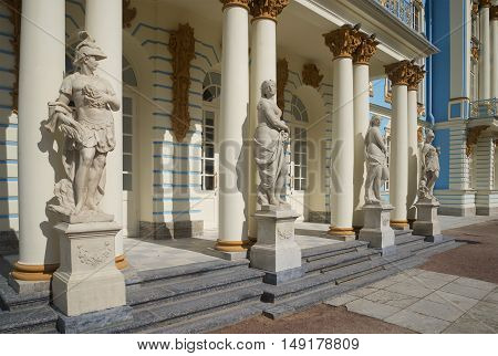 SAINT PETERSBURG, RUSSIA - JULY 10, 2015: Classical statues at the entrance to Catherine Palace. Historical landmark of the Tsarskoye Selo