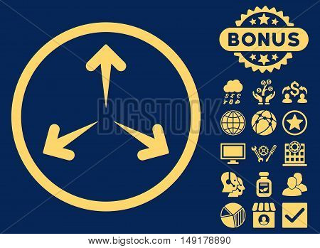 Expand Arrows icon with bonus symbols. Vector illustration style is flat iconic symbols yellow color blue background.