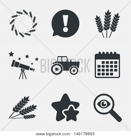 Agricultural icons. Wheat corn or Gluten free signs symbols. Tractor machinery. Attention, investigate and stars icons. Telescope and calendar signs. Vector