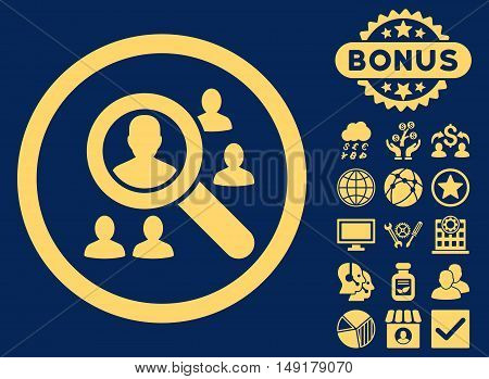Explore Patients icon with bonus elements. Vector illustration style is flat iconic symbols yellow color blue background.