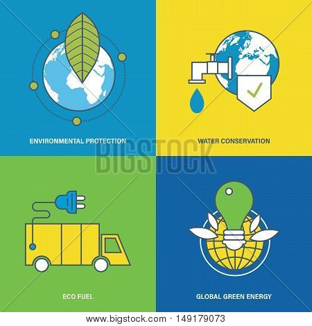 Concept of environmental protection, water conservation, eco fuel, global green energy and preservation of natural harmony. Vector illustration. Can be used for banners, advertising, brochures.