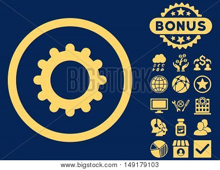 Gear icon with bonus symbols. Vector illustration style is flat iconic symbols yellow color blue background.