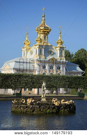 SAINT PETERSBURG, RUSSIA - JULY 03, 2015: The Palace Church of the apostles Peter and Paul on a summer evening. Religious landmark  of the Peterhof