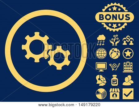 Gears icon with bonus images. Vector illustration style is flat iconic symbols yellow color blue background.