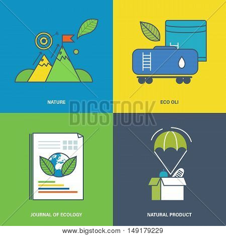 Illustration on the theme of nature, natural product, the use of natural products extraction and refining.