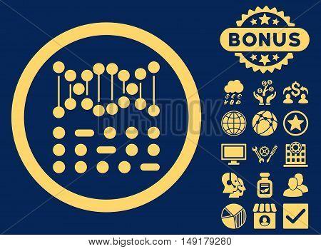 Genetic Code icon with bonus pictogram. Vector illustration style is flat iconic symbols yellow color blue background.