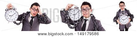 Businessman holding alarm clock isolated on white