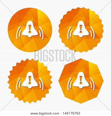 Alarm bell with exclamation mark sign icon. Wake up alarm symbol. Triangular low poly buttons with flat icon. Vector