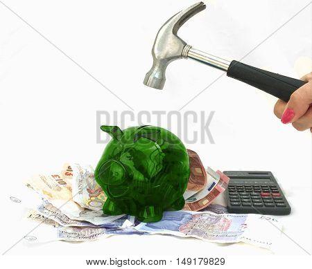 Investment savings plans green piggy money bank